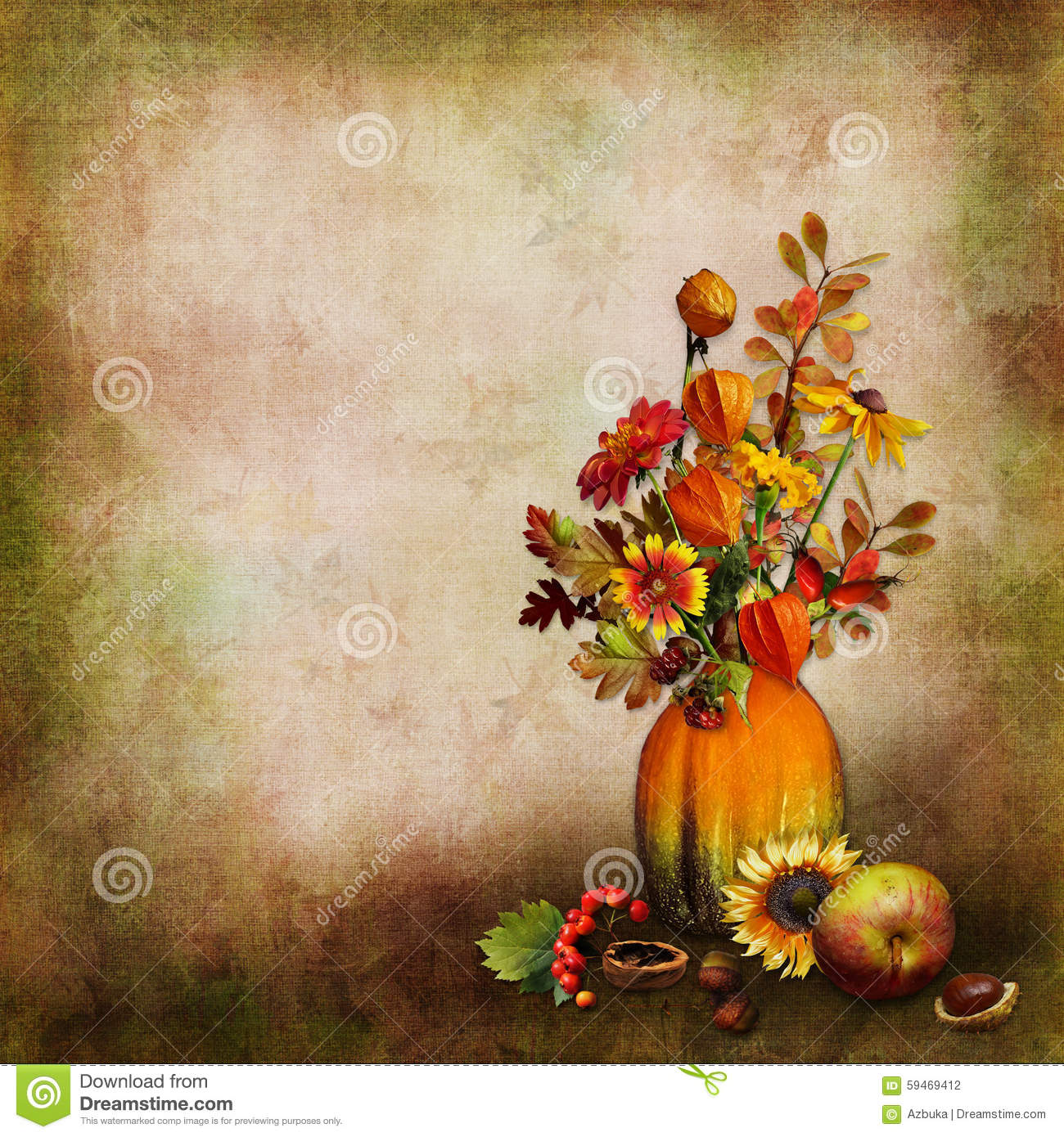 Fall Pumpkin Wallpaper Desktop Bouquet Of Autumn Leaves And Flowers In A Vase From A