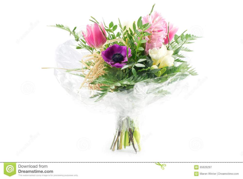 medium resolution of bouquet in cellophane with pink and purple flowers isolated on