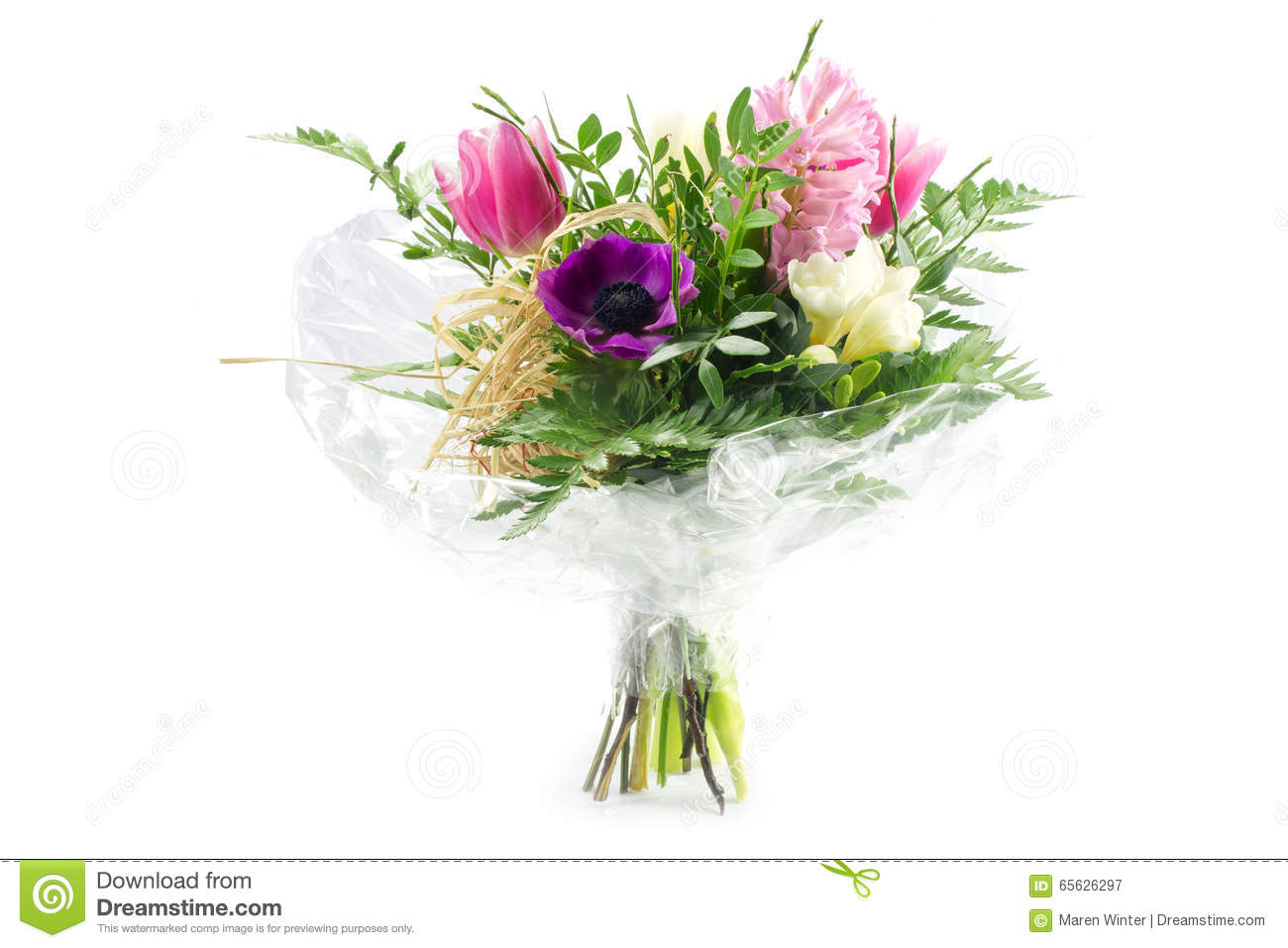 hight resolution of bouquet in cellophane with pink and purple flowers isolated on