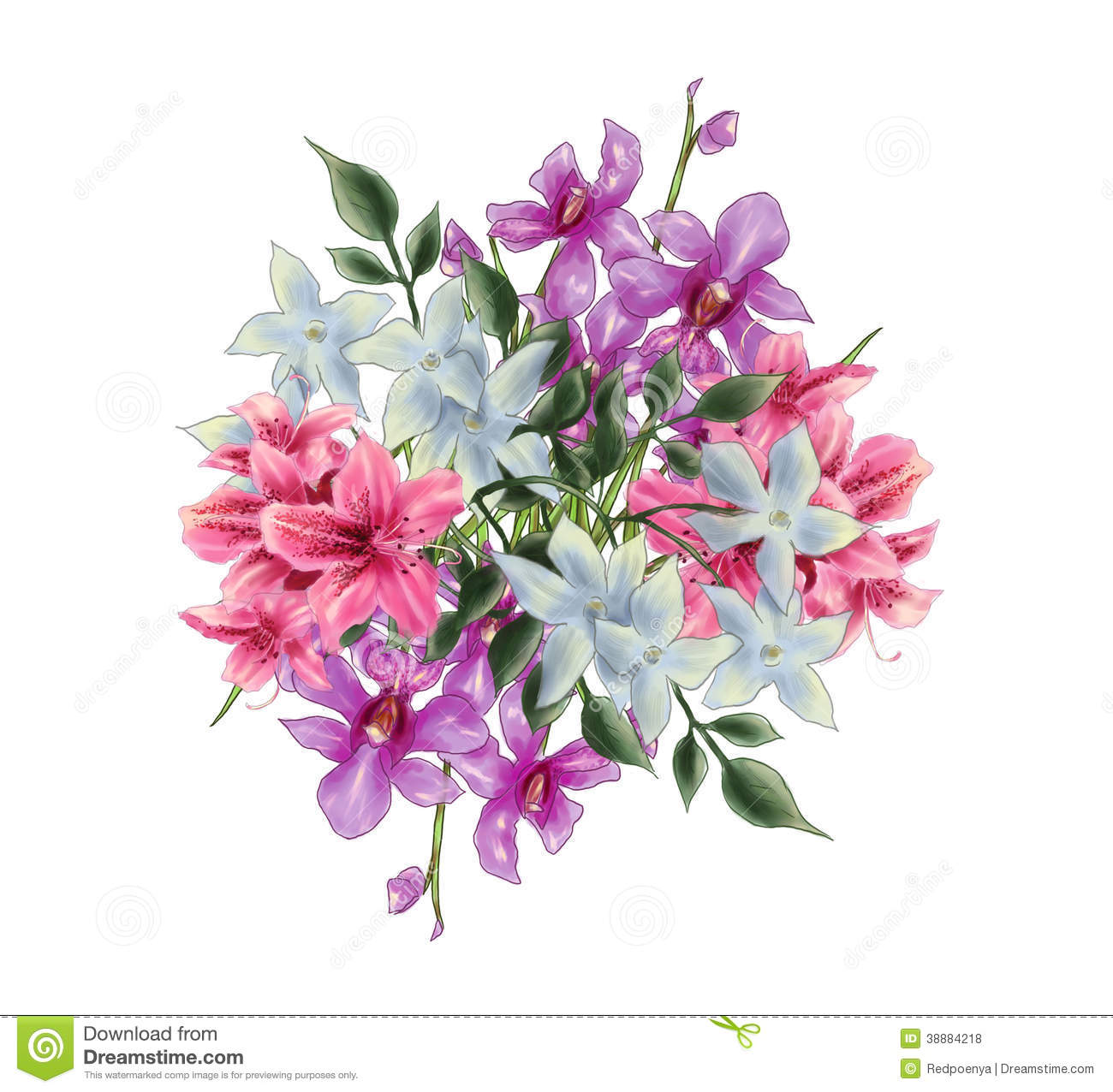 Bouquet Illustration Of Orchid Rhododendron Stock