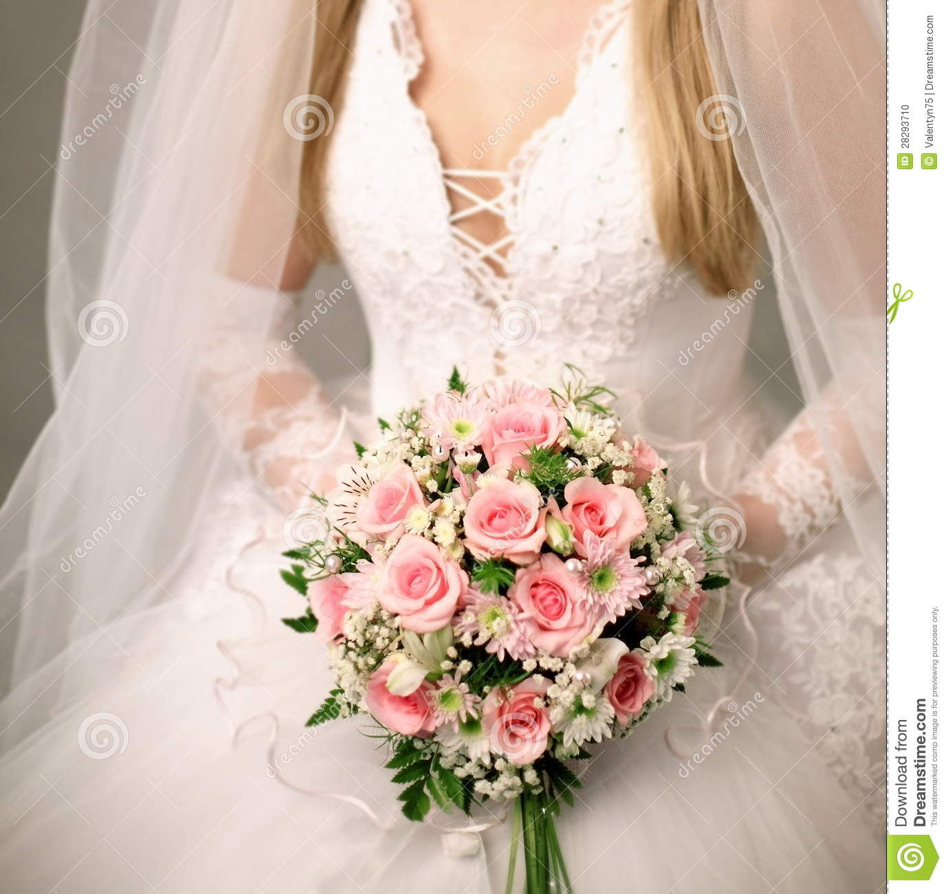 Bouquet Of Roses In Brides Hands Stock Photo  Image