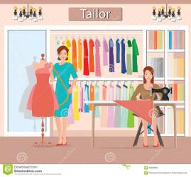 boutique cloths indoor woman tailor illustration clothing interior vector womans building preview