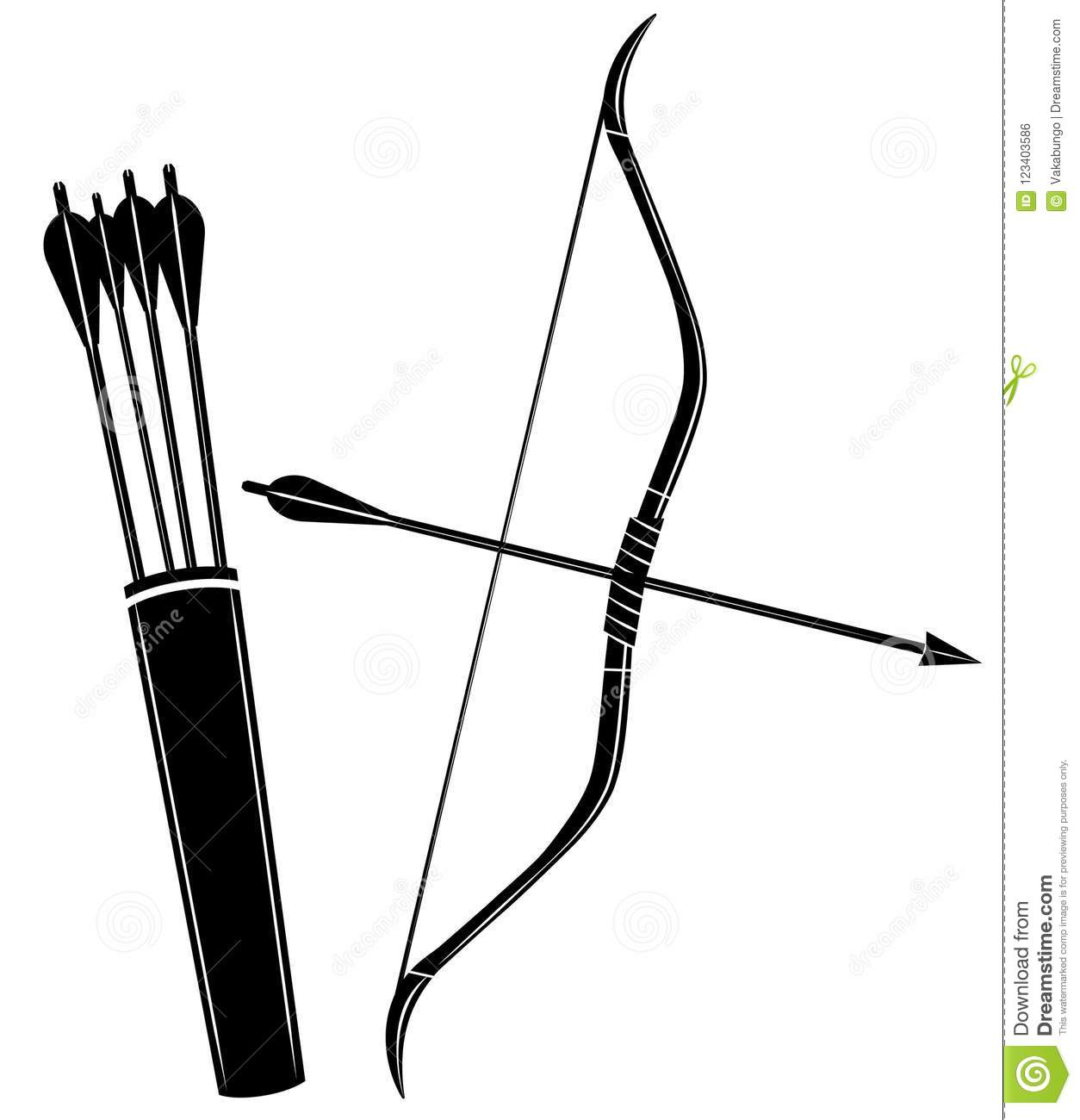 Bow Arrow And Quiver Vector Illustration Icon Stock