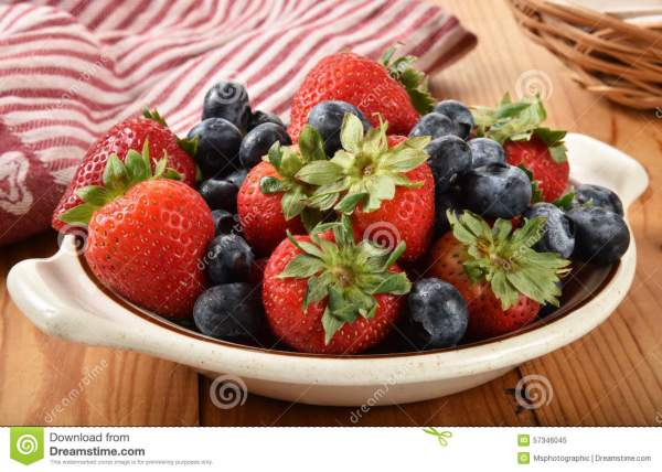 Bowl of fresh berries stock image Image of blueberries