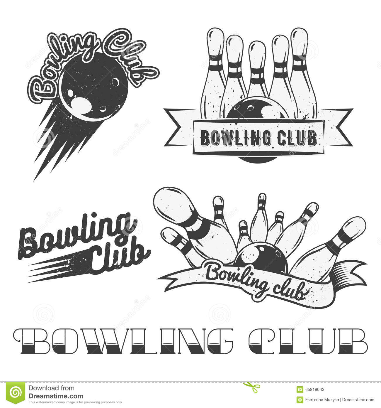 Vector Bowling Icon Set Vector Illustration