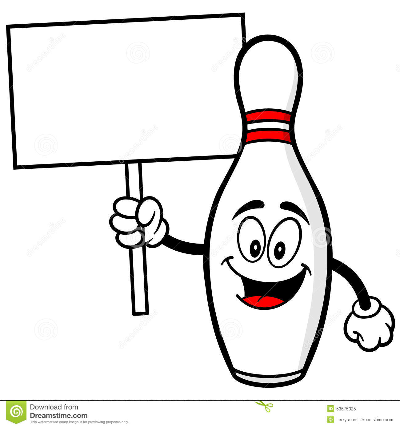 Bowling Pin With Sign Stock Vector Illustration Of