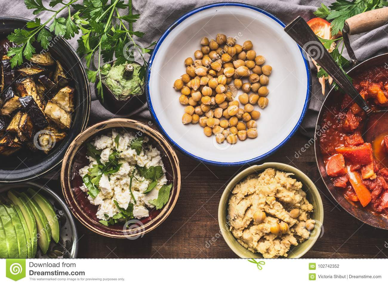 bowls with vegetarian meal