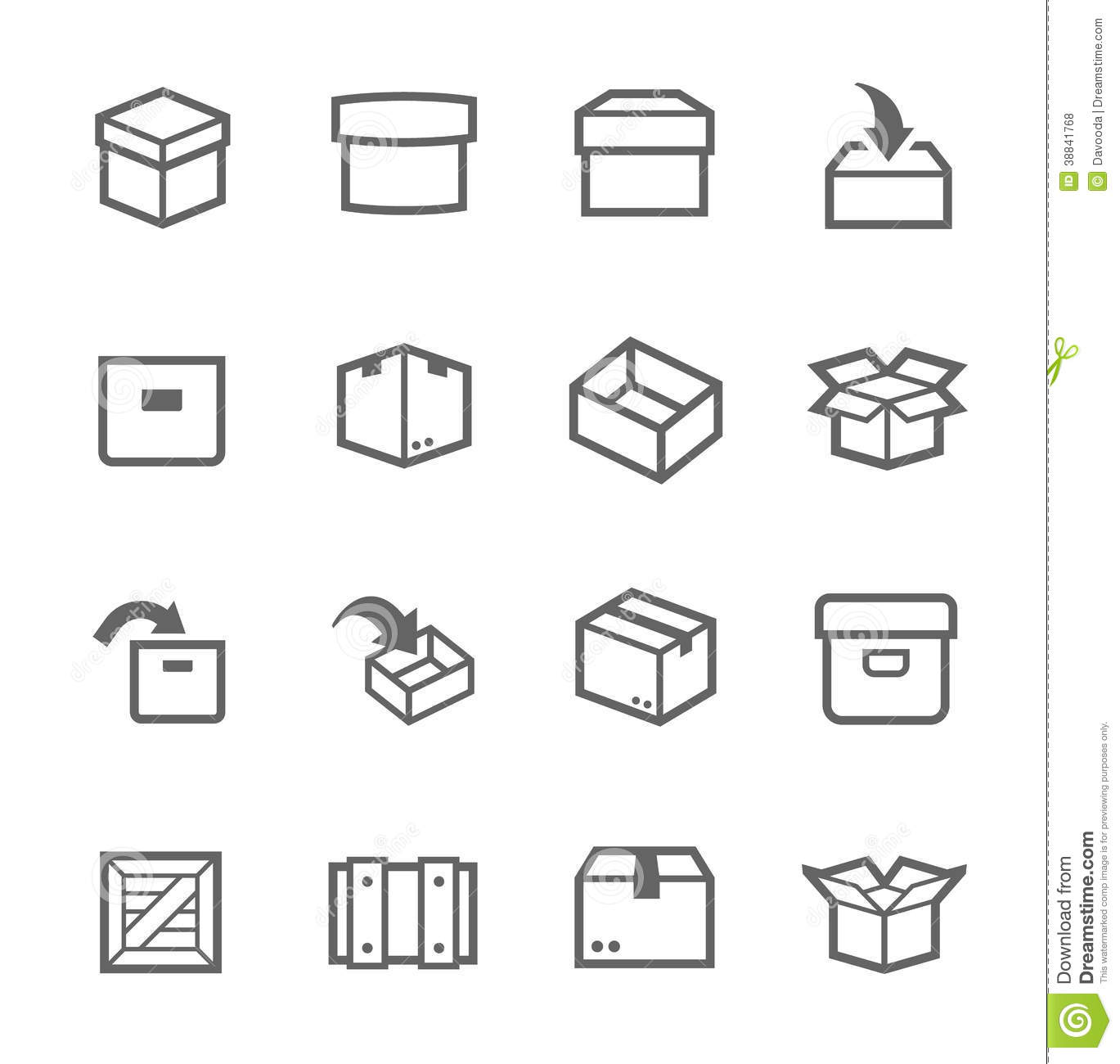 Box And Crates Icons Stock Vector Illustration Of
