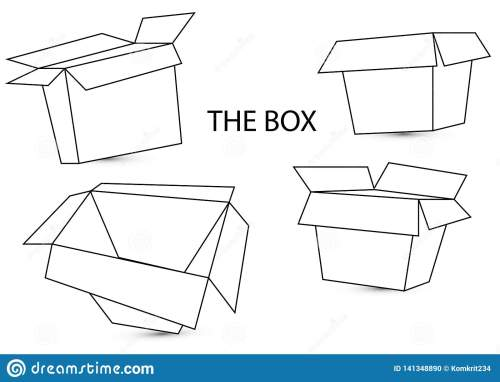 small resolution of 3d box dimension with the top and side view on white background with shadow