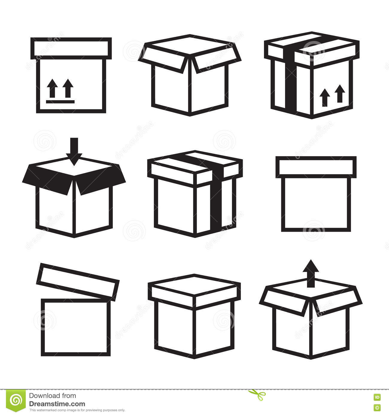 Box Icons Set Package Box Container Packaging Box Icon