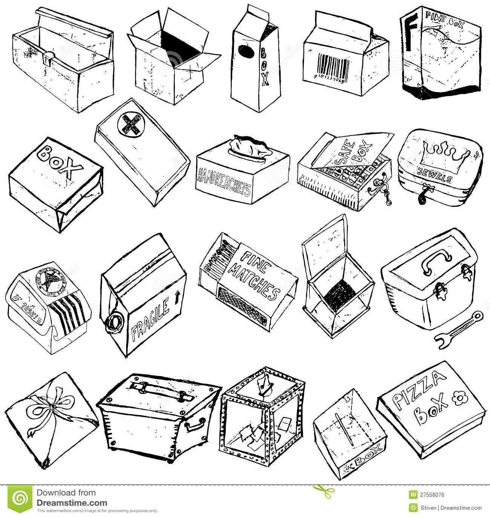 Box Sketches Stock Vector Illustration Of Send Model
