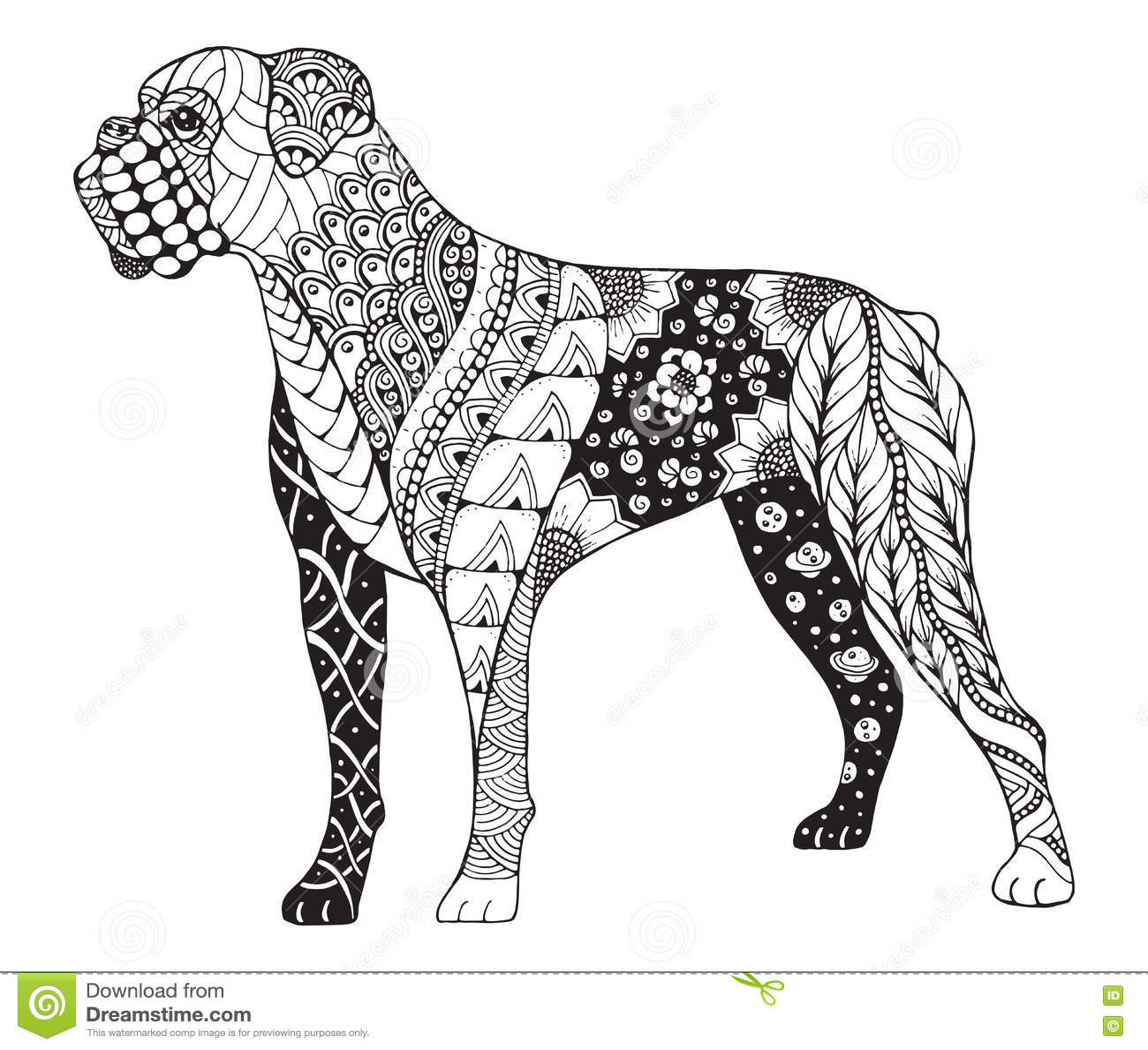 Boxerhund Zentangle Stilisierte Vector Illustration