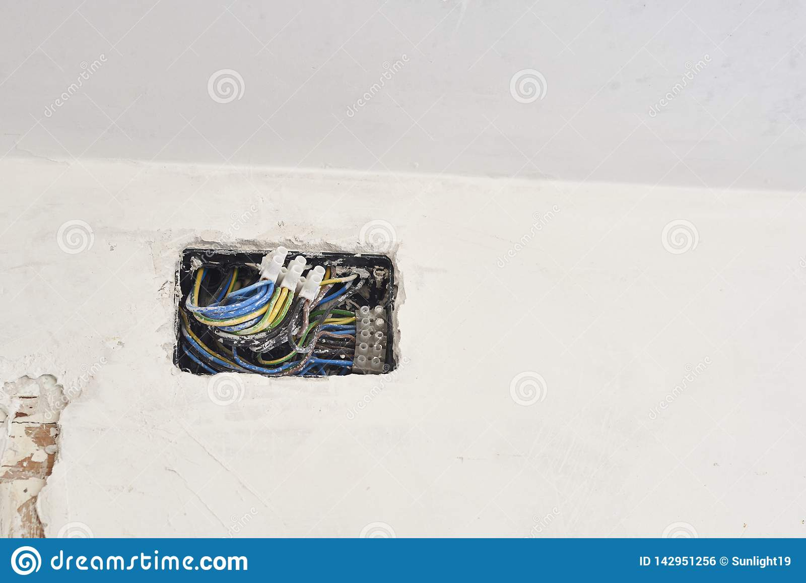 hight resolution of boxes and cables of new electrical installation diy house indoor improvements room construction