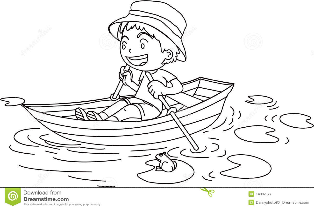 A Boy In A Boat Stock Vector Image Of Watching Water