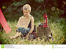 Boy Camping In Countryside Stock Of