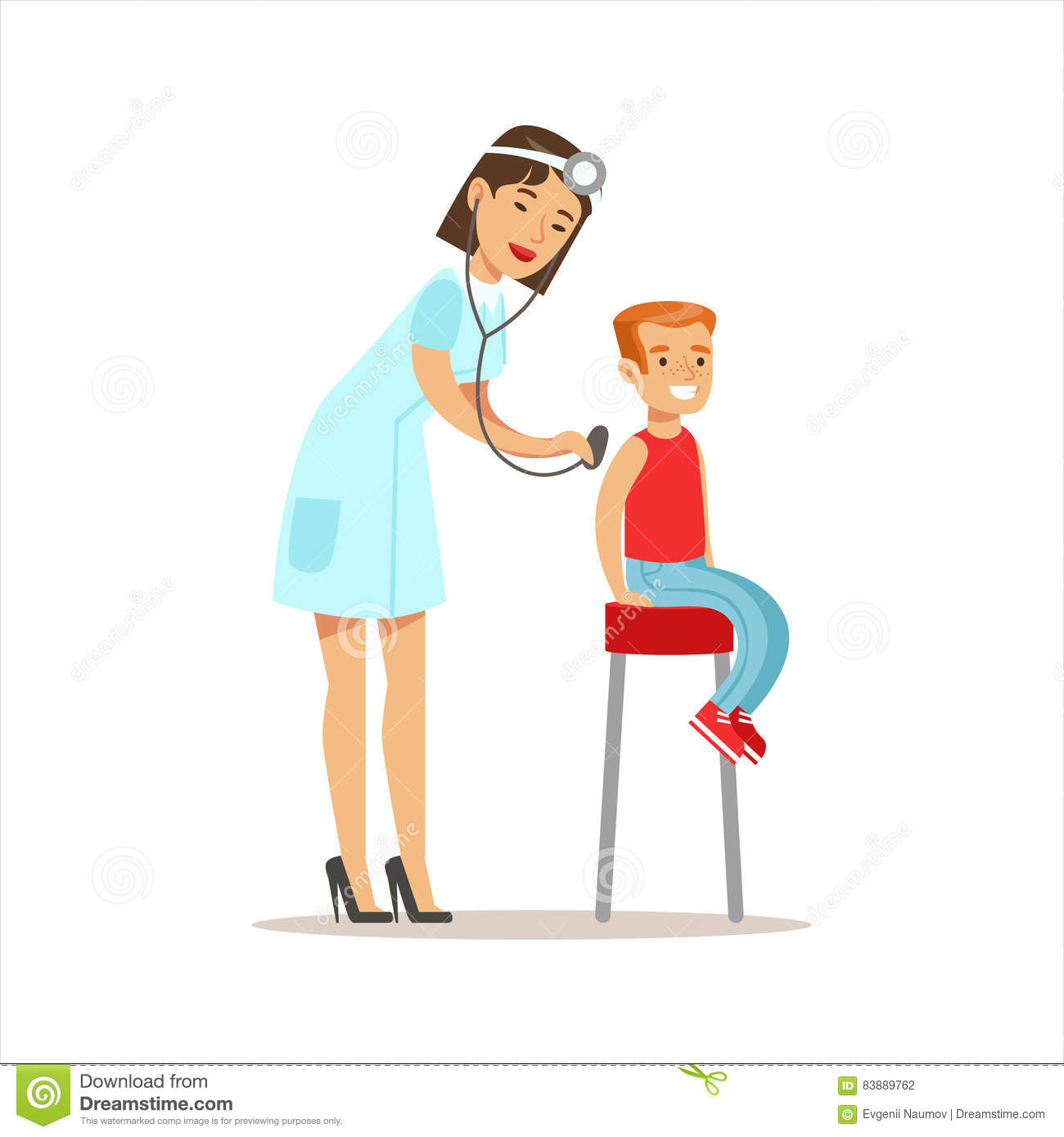 Boy Checked With Sthetoscope On Medical Check Up With