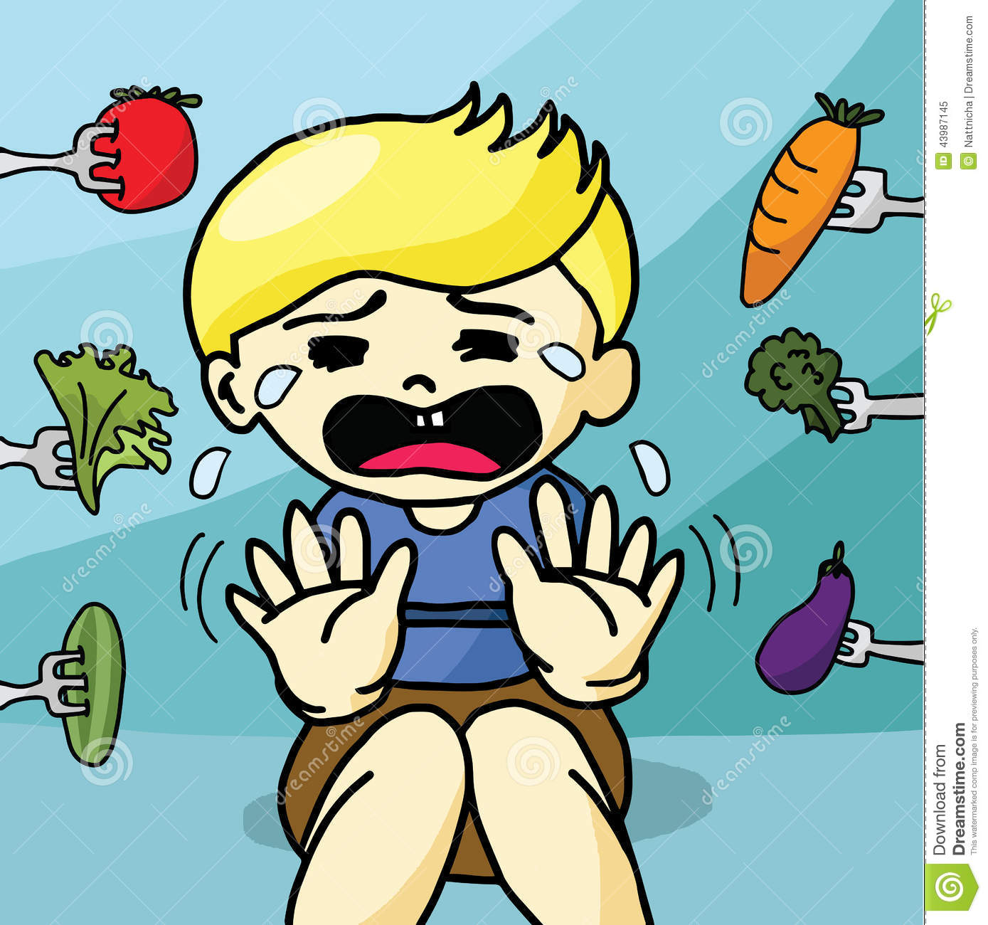 the boy does not like healthy food stock vector image 43987145