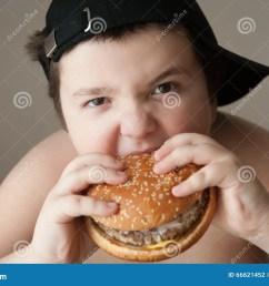 fat boy in cap eats a hamburger [ 1300 x 955 Pixel ]