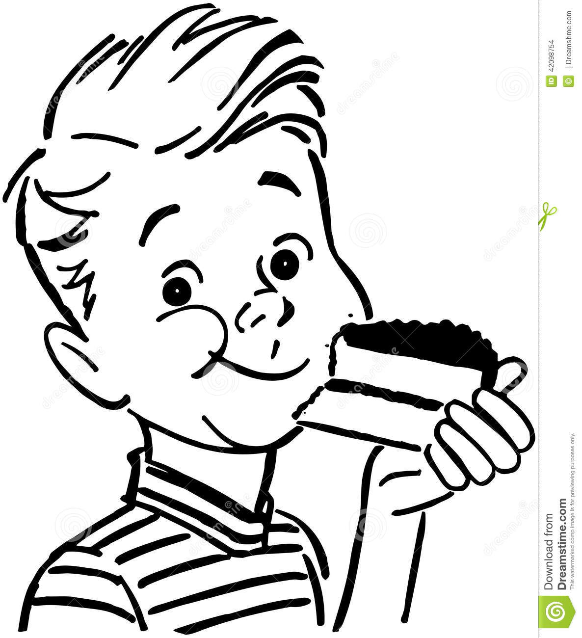 Boy Eating Cake Stock Vector Image Of Delighted Children