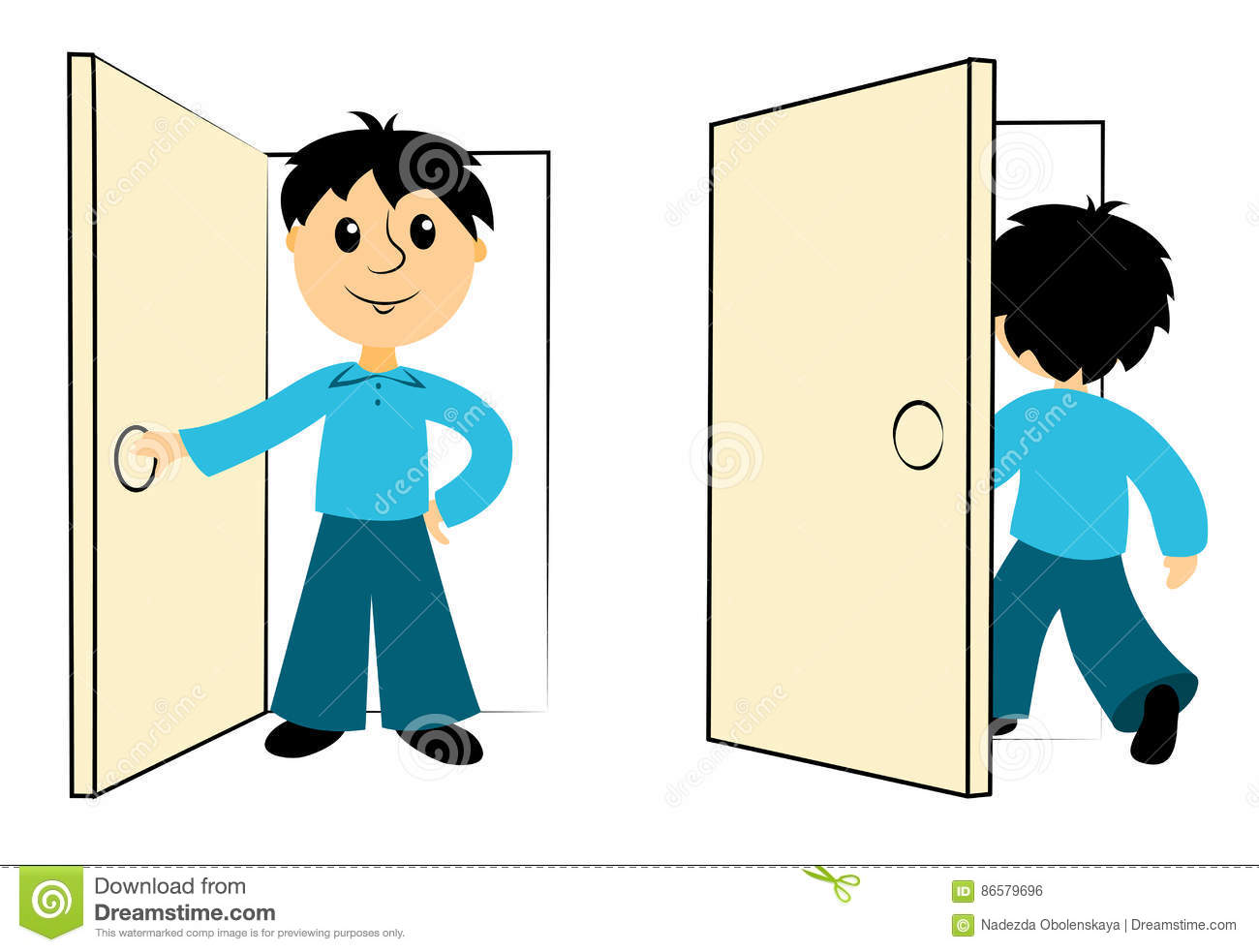 The Boy Enters A Door Stock Vector Illustration Of Elementary 86579696