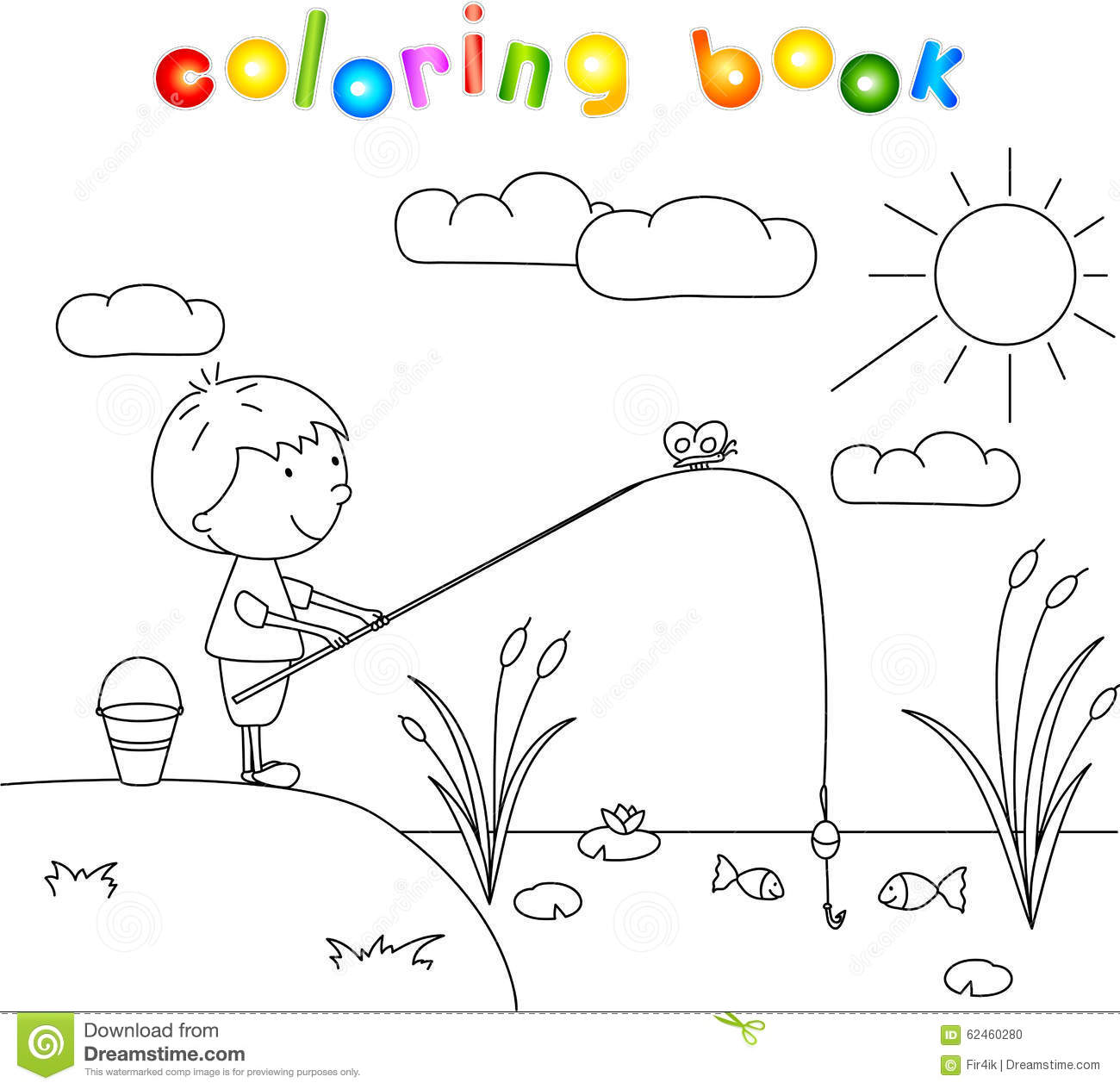 Boy Fisherman With Fishing Rod On The Lake. Coloring Book