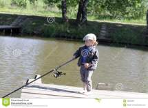Barefoot Fishing Boy Standing In Transparent Royalty-free