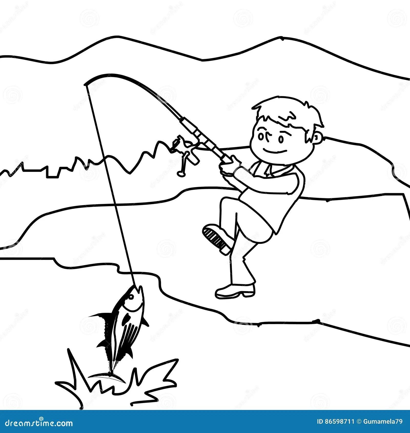 Friendship. Boy, Girl Fishing. Vector Illustration
