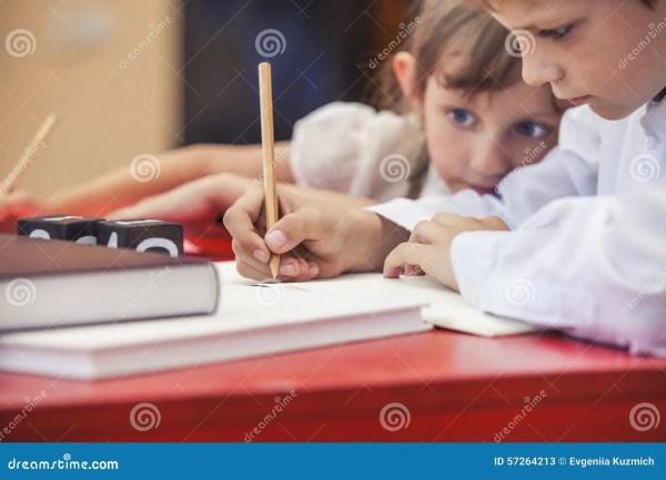Boy Girl Children In School Happy Curious