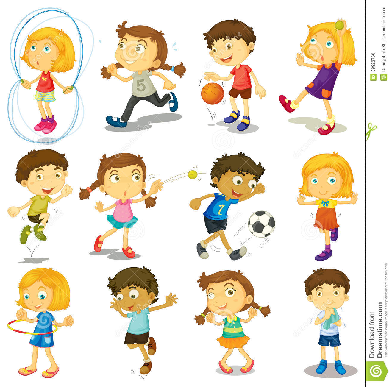 Boy And Girl Doing Many Activities Stock Vector