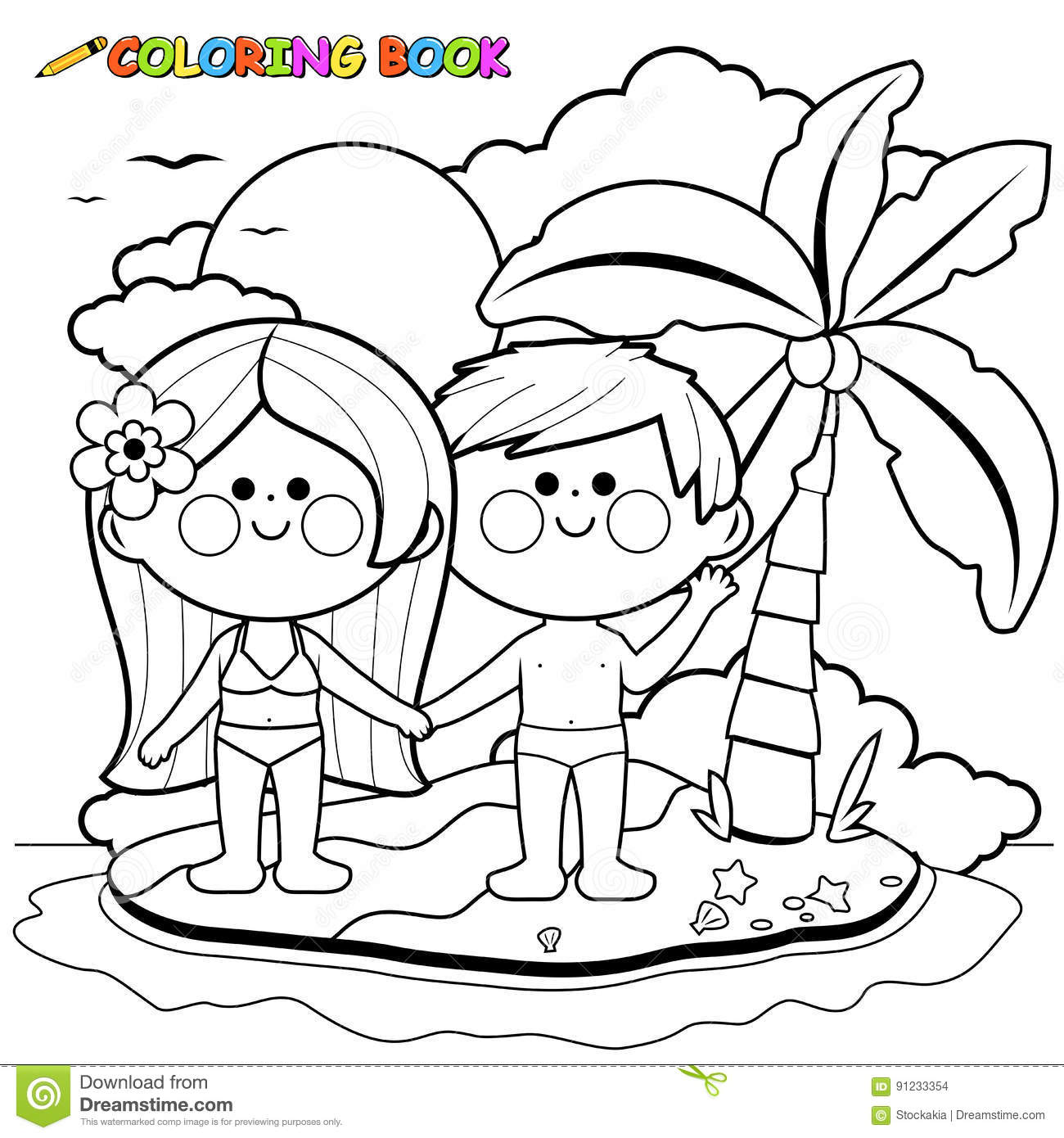 Boy And Girl On An Island. Black And White Coloring Book