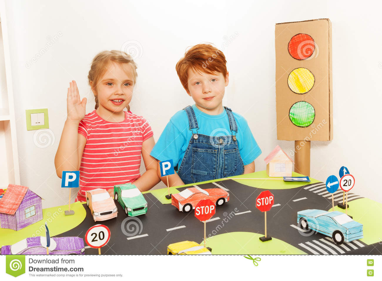 Boy And Girl Studying Road Traffic Regulations Stock Image