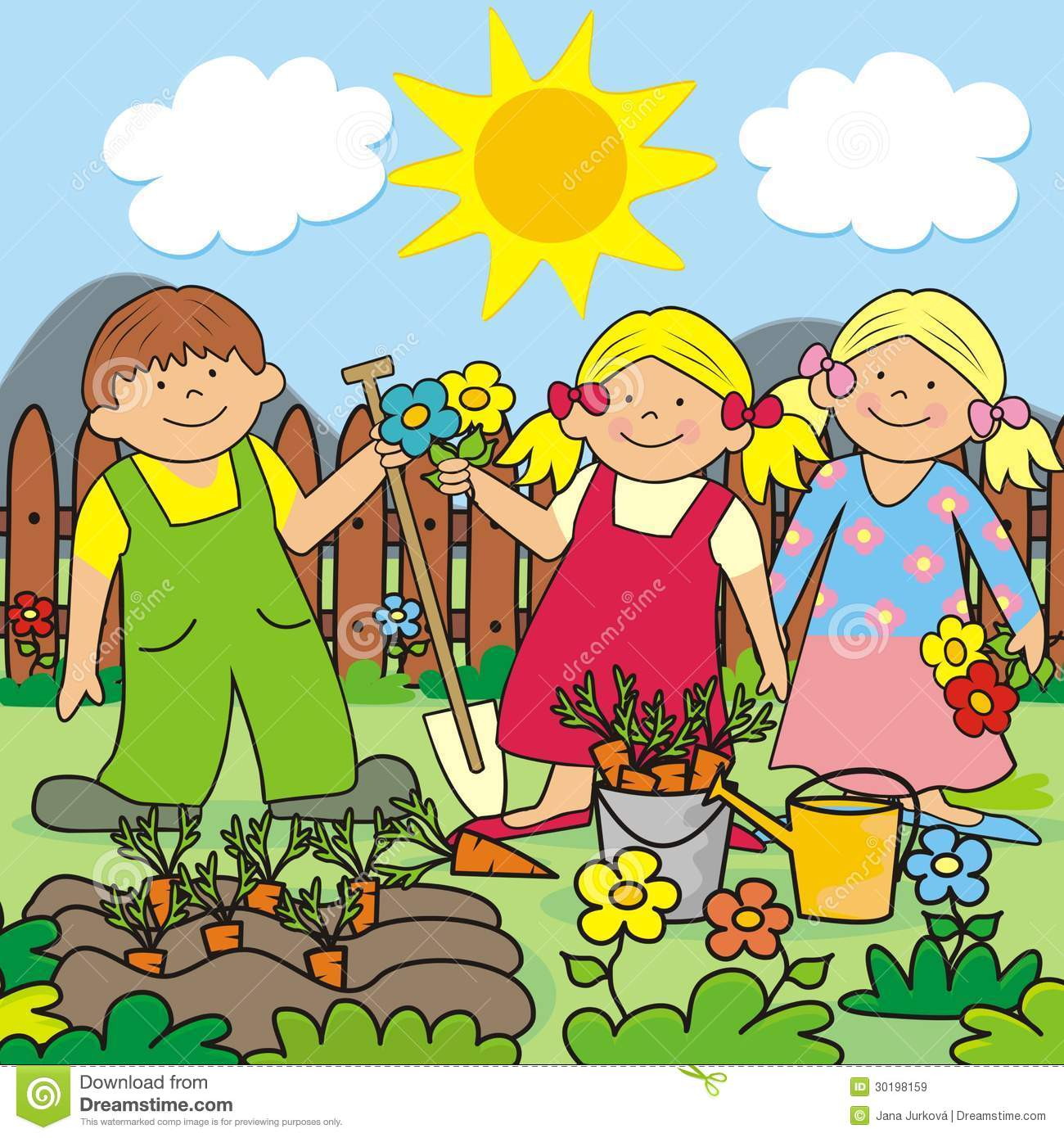 Kids And Garden Stock Vector Illustration Of Colour