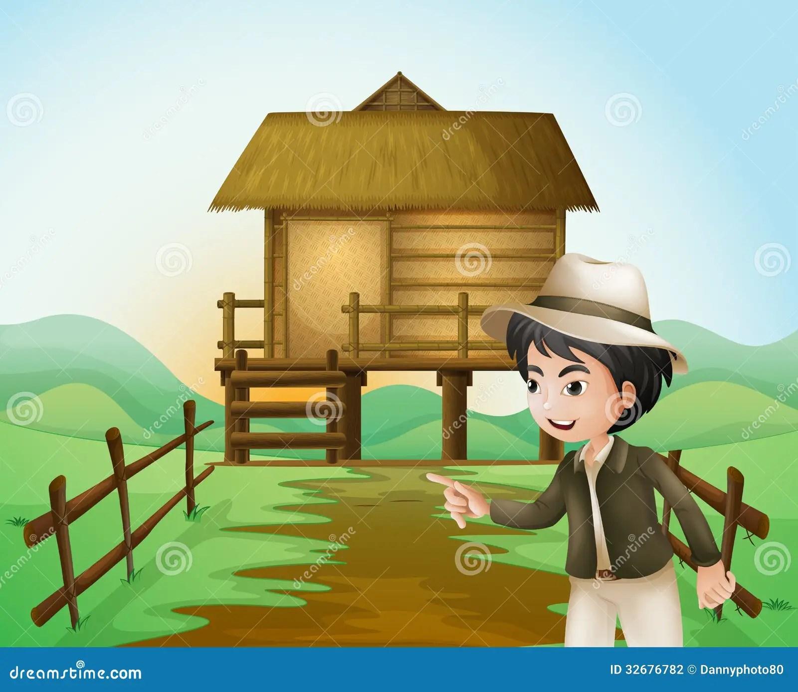 A Farm With Nipa Huts Vector Illustration CartoonDealer