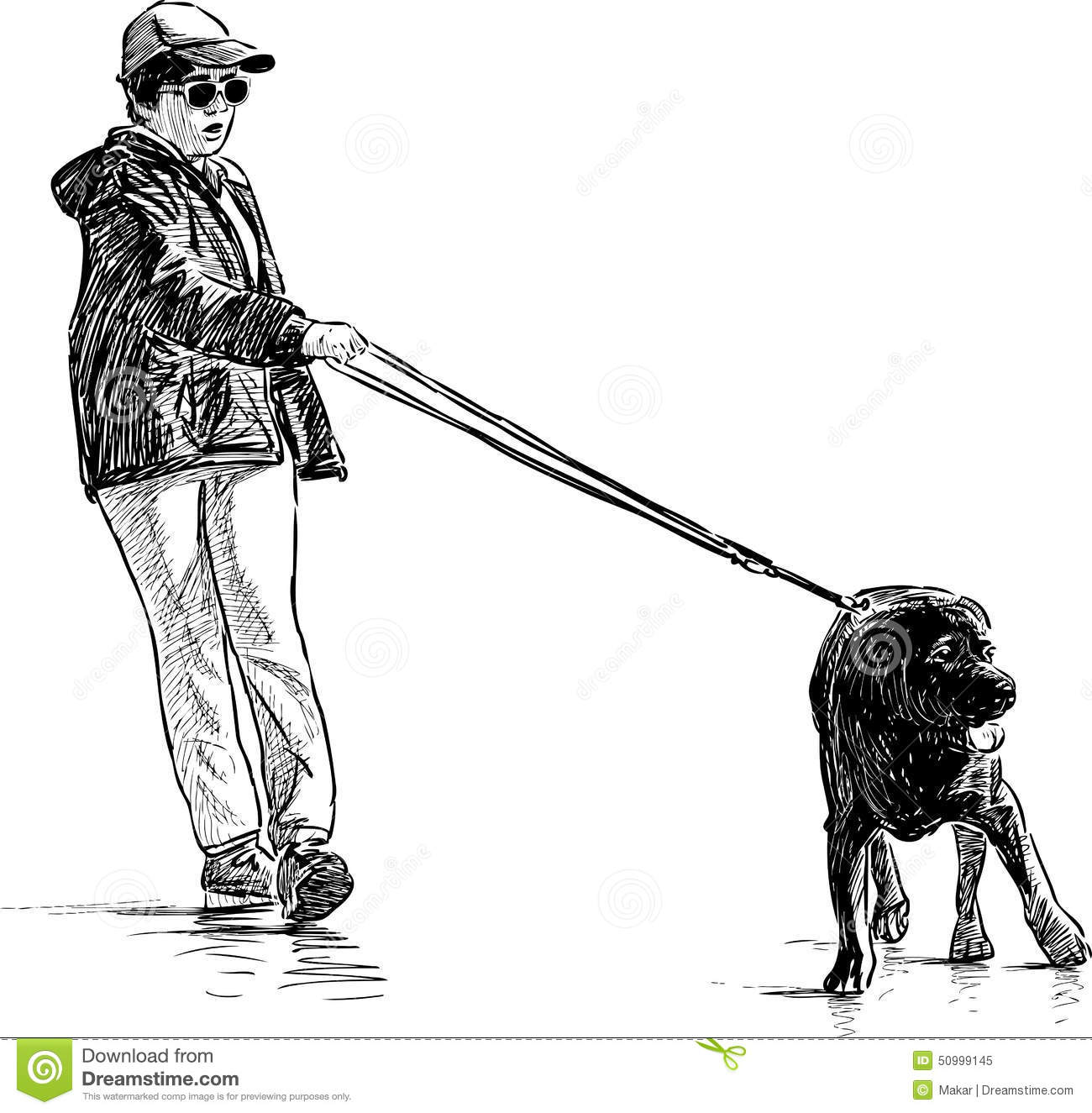 Boy With His Dog On A Walk Stock Vector Illustration Of