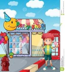 boy outside lollipop holding party illustration preview