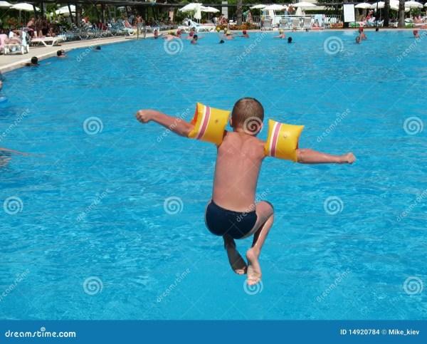 Boy Swimming Pool Jumping