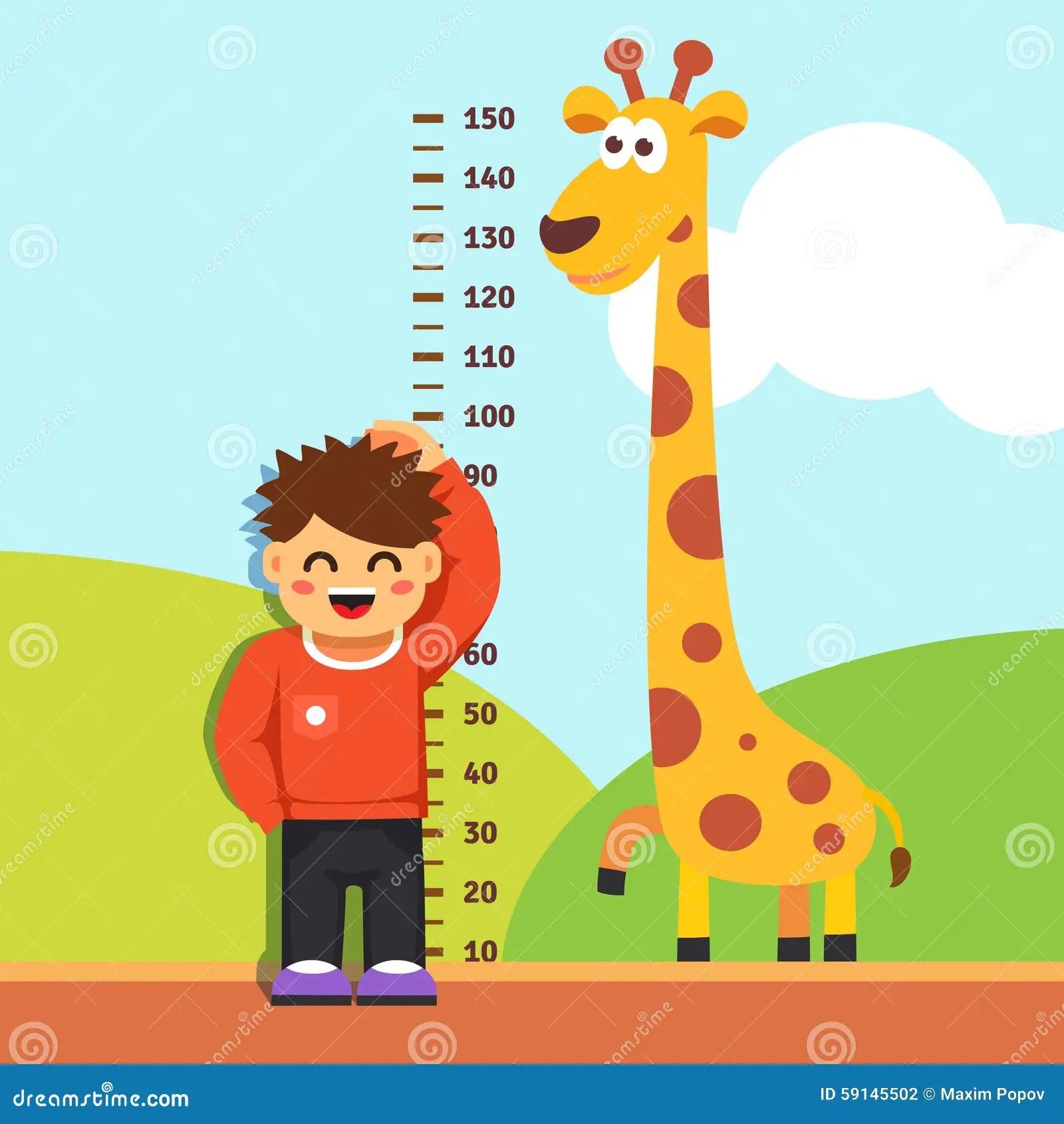 Boy Kid Measuring His Height At Kindergarten Wall Stock