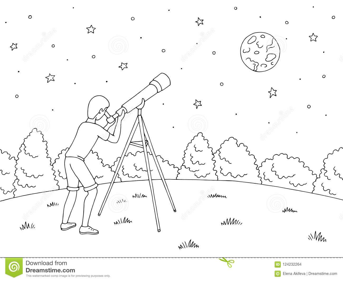 Looking Stars Telescope Stock Illustrations 232 Looking