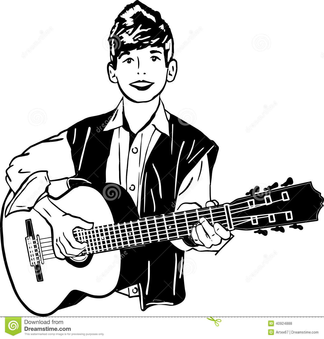 Boy Playing A Guitar Stock Vector Illustration Of Harmony