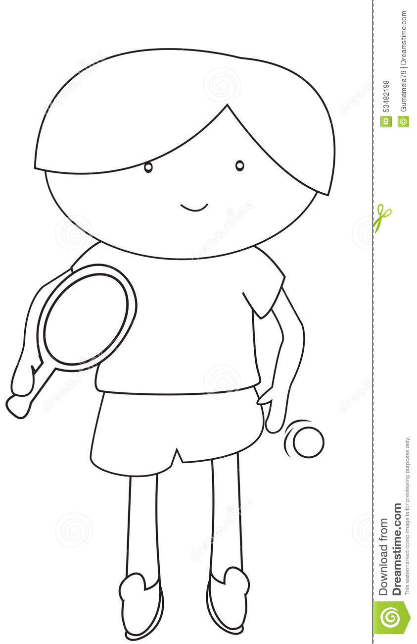 Boy Playing Table Tennis Coloring Page Royalty-Free Stock