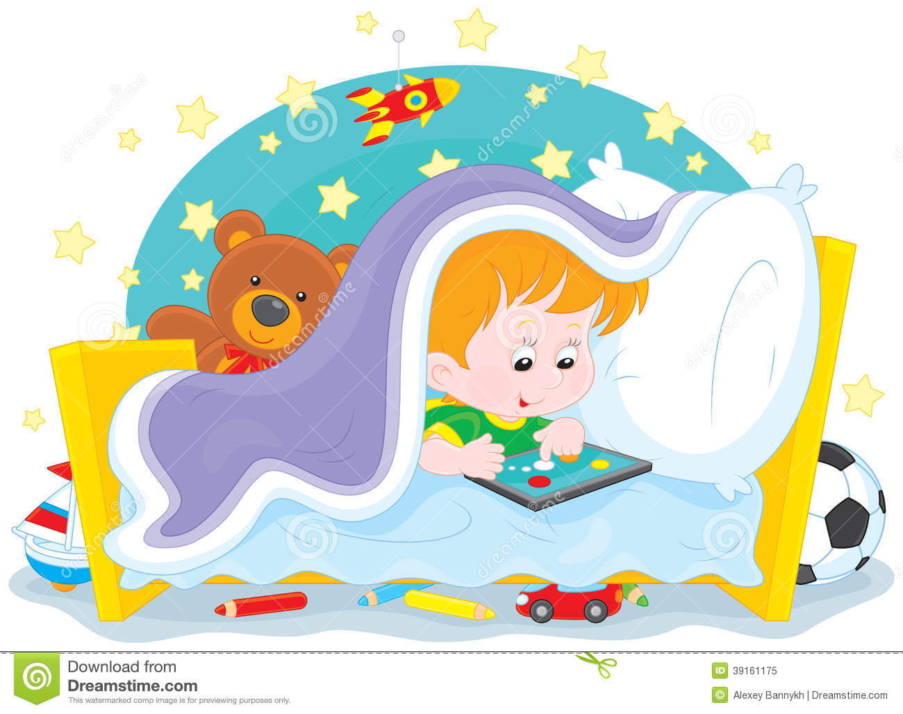 Boy Playing On A Tablet Stock Vector Image 39161175