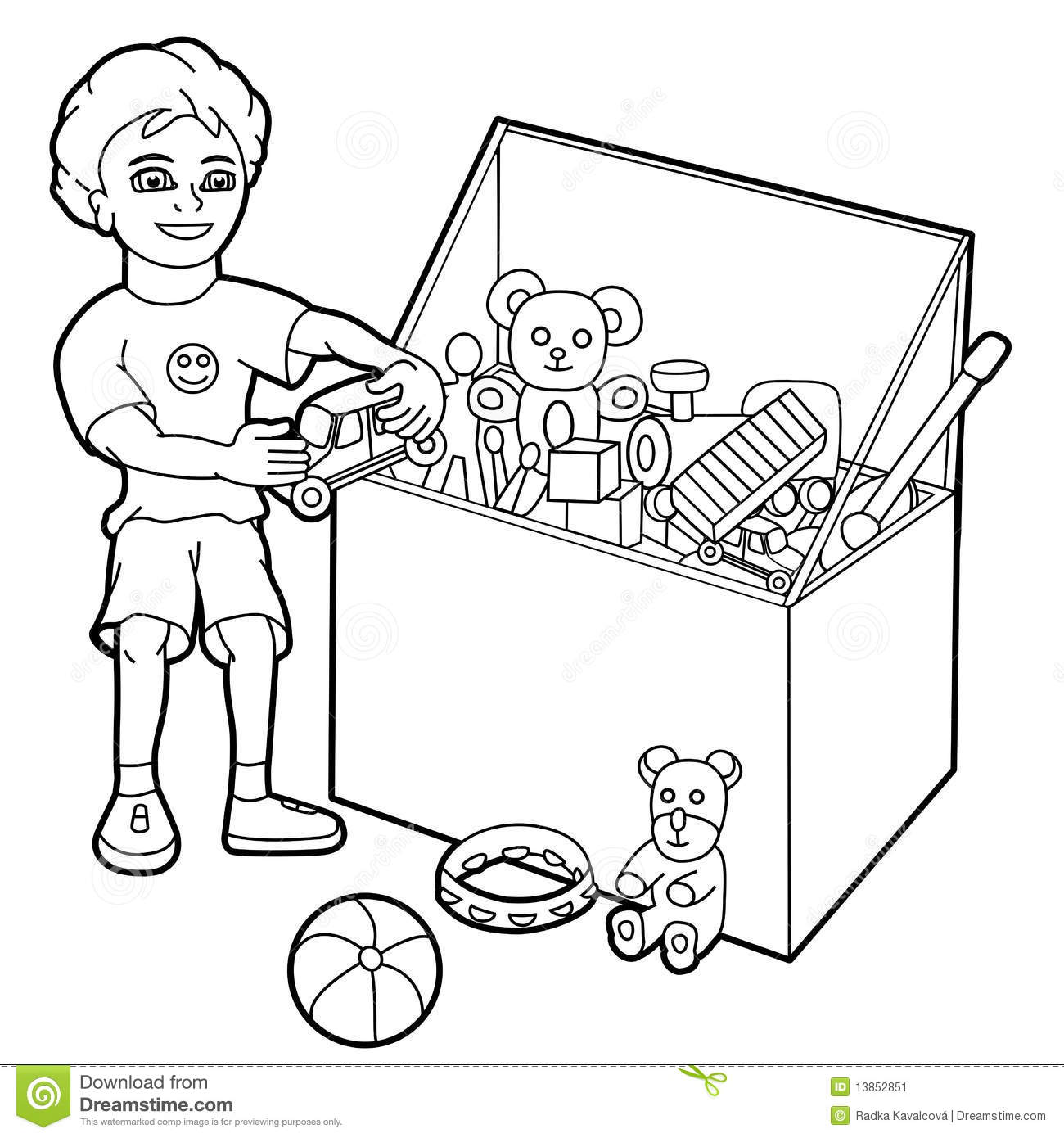 Boy Playing With Toys Stock Vector Illustration Of Cute