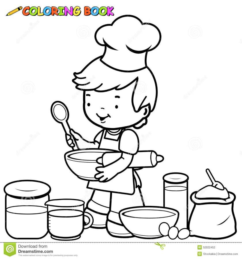 boy cooking coloring page stock vector. illustration of