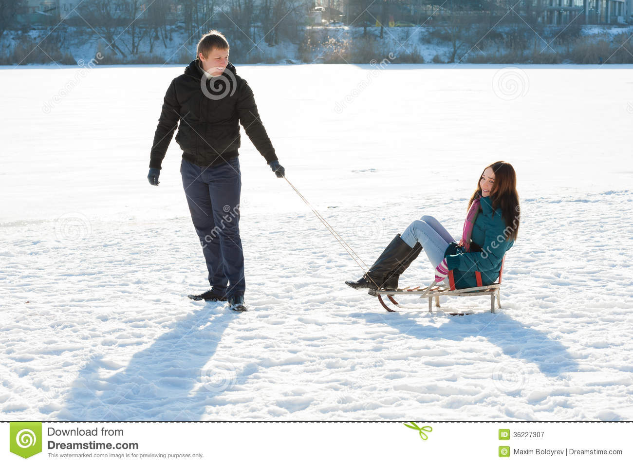 Boy And Girl Hug Wallpaper Download Boy Pulling Girl In Sledge Royalty Free Stock Photography