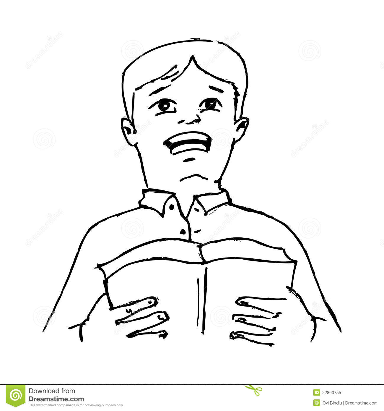 Boy Reading A Poem From A Book Stock Illustration