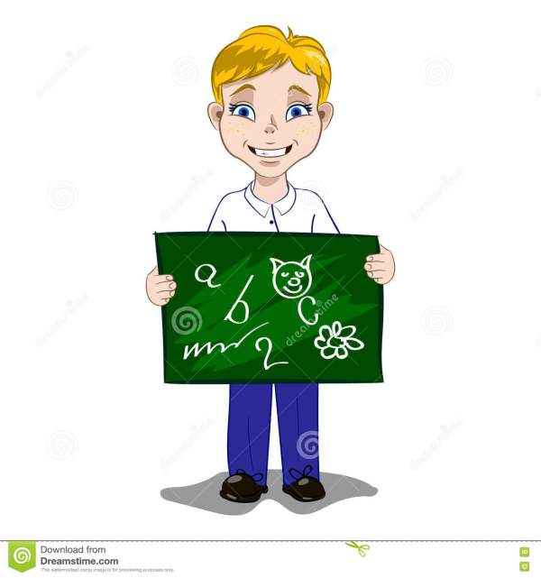 Boy With School Board Stock Vector. Illustration Of Child