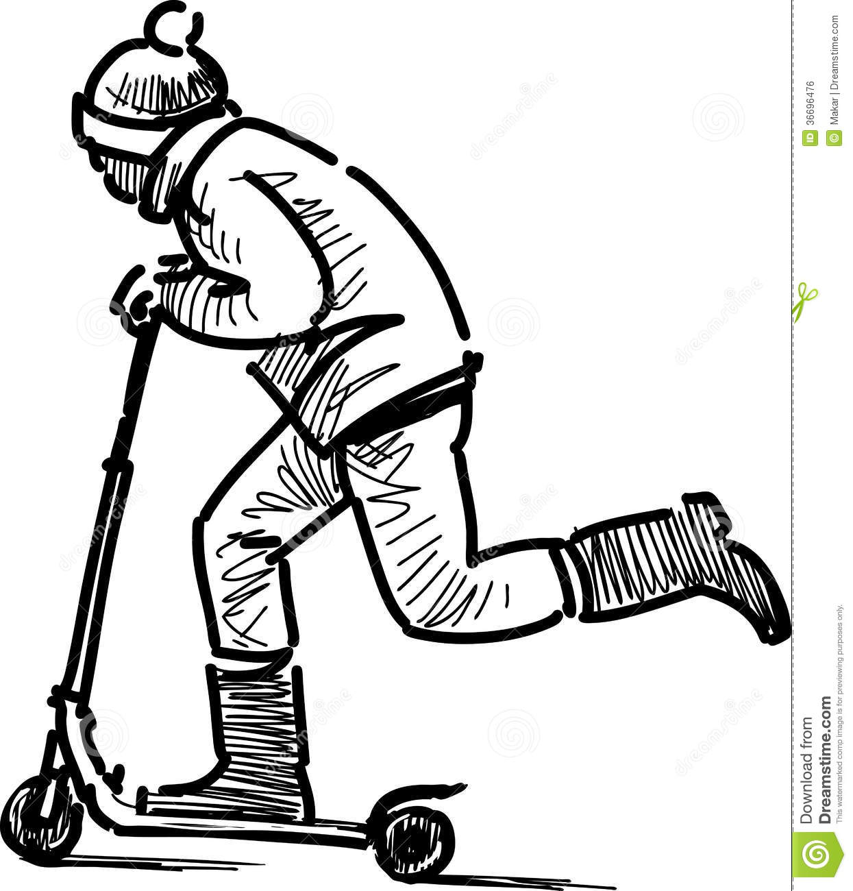 Boy on scooter stock photo. Image of people, riding