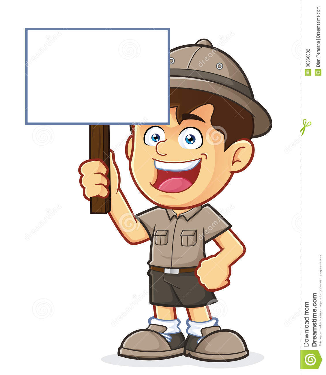 hight resolution of boy scout or explorer boy holding a blank sign