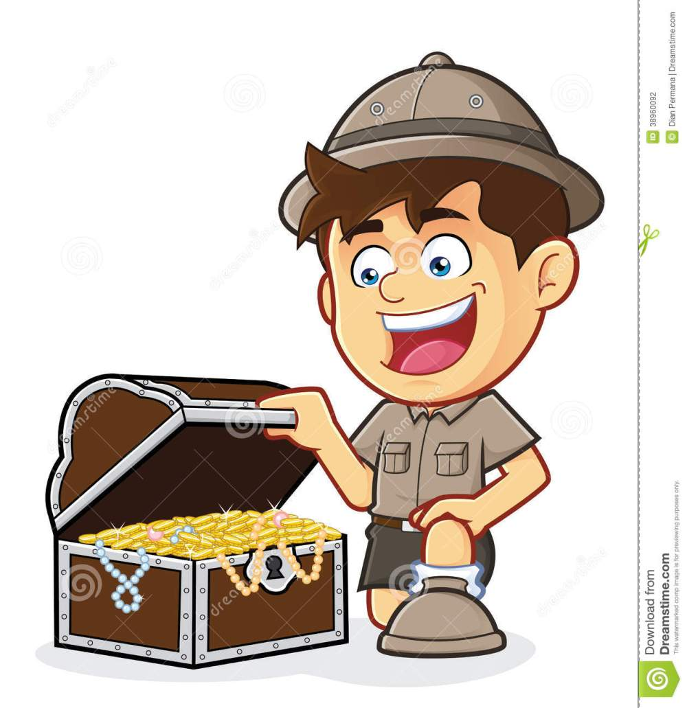 medium resolution of boy scout or explorer boy with a treasure chest