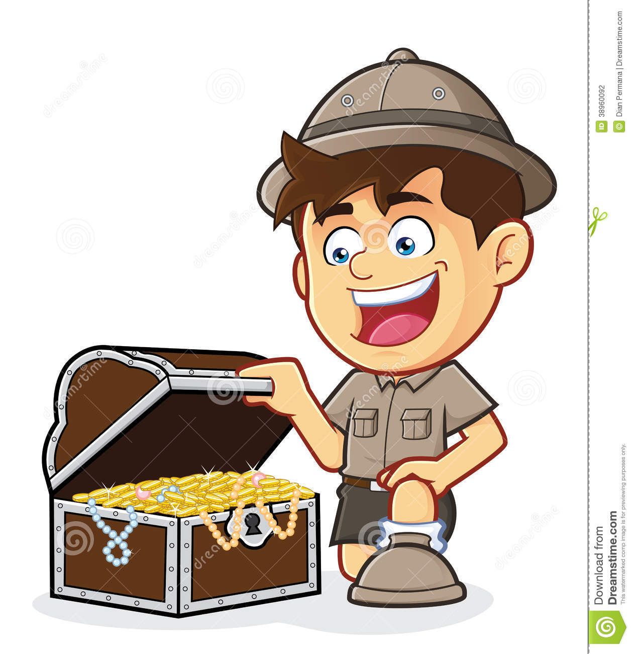 hight resolution of boy scout or explorer boy with a treasure chest